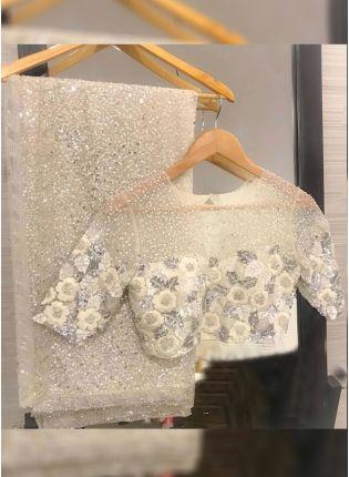 White Color Party Wear Designer Georgette Base Sequins Work Saree