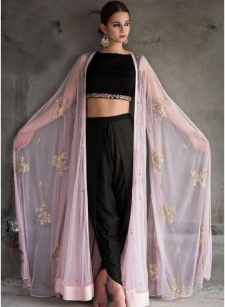 Designer Party Wear Black And Pink Color Sequins Work Dhoti Style Suit