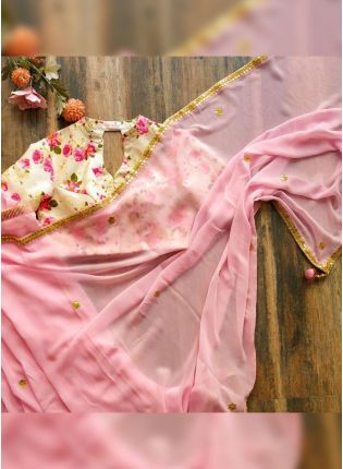 Elegant Baby Pink Georgette Base Digital Printed Saree With Lace