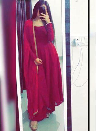 Impressive Rani Pink Georgette Base Festive Wear Palazzo Salwar Suit