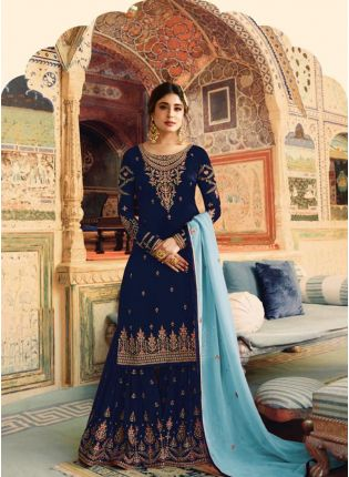 Navy Blue Color Wedding Wear Georgette Base Sharara Suit
