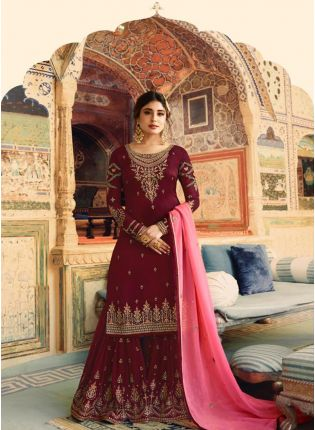 Maroon Color Wedding Wear Georgette Base Sharara Suit