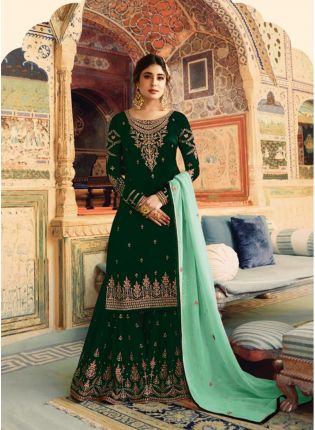 Bottle Green Color Wedding Wear Georgette Base Sharara Suit