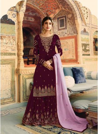 Purple Color Wedding Wear Georgette Base Sharara Suit