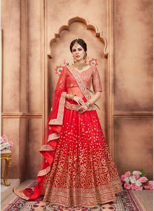 Party Wear Red Color Designer Soft Net Base Lehenga Choli