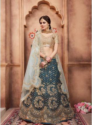 Delightful Teal Green Art Silk Base Designer Zari Work Lehenga Choli