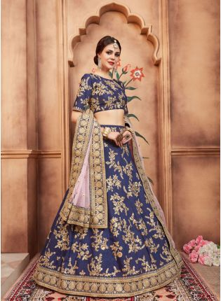 Wonderful Navy Blue Color Designer Art Silk Base Lehenga Choli
