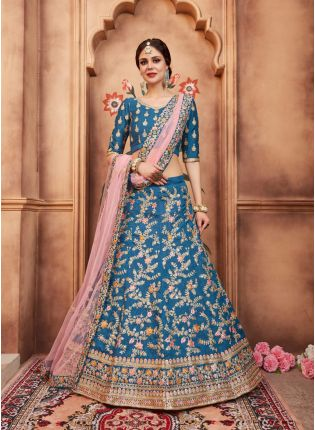 Classic Blue Color Art Silk Base Embroidered Work Lehenga Choli