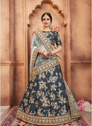 Delightful Teal Blue Color Art Silk Base Designer Embroidered Lehenga Choli