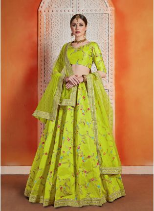 Elegant Neon Green Color Art silk Base Embroidred Lehenga Choli