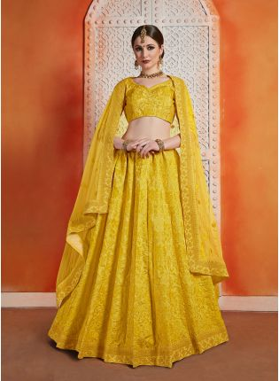 Yellow Color Art Silk Base Designer Heavy Lakhnavi Work Lehenga Choli