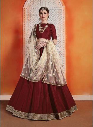 Simple But Stylish Designer Maroon Art Silk Base Lehenga Choli