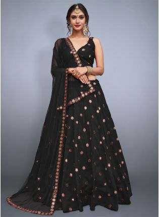 Delicate Black Heavily Embellished Mirror Work Designer Lehenga Choli