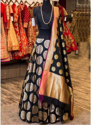 Black Color Wedding Wear Designer Silk Base printed Lehenga Choli