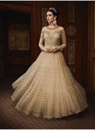 Beige Color Party Wear Designer Soft Net Base Anarkali Style Suit