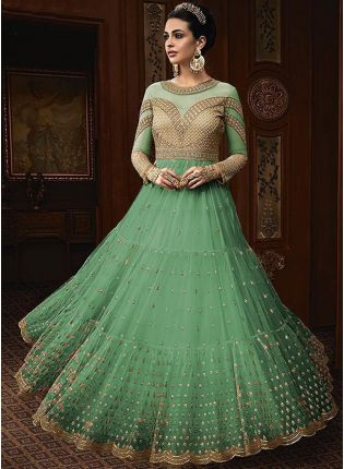 Sea Green Color Party Wear Designer Soft Net Base Anarkali Style Suit