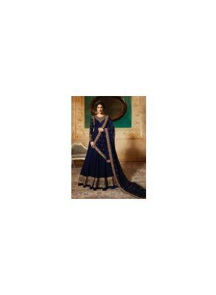 Georgette Base Party Wear Blue Color Heavy Embroidery Work Anarkali Suit