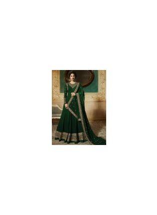 Georgette Base Party Wear Dark Green Embroidery Work Anarkali Suit