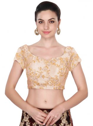 Round Neck Applique Work Stitched Blouse