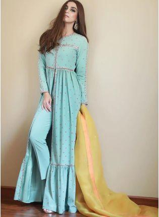 Sky Blue Zari And Silk Pant Style Salwar Suit