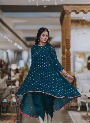 Teal Green Color Party Wear Georgette Base Dhoti Dress