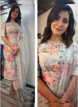 Sky Blue Color Floral Printed Designer Salwar Kameez Suit