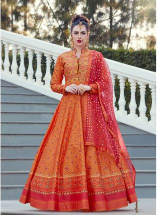 Designer Orange Color Heavy Printed Silk Base Party Wear Gown