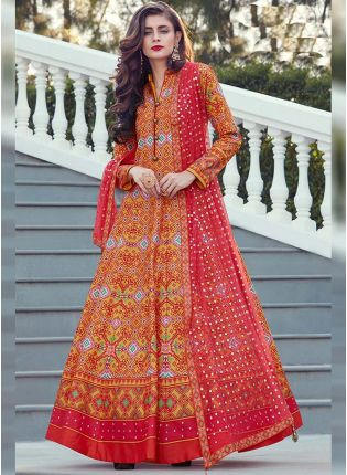 Dark Orange Color Heavy Printed Silk Base Party Wear Gown