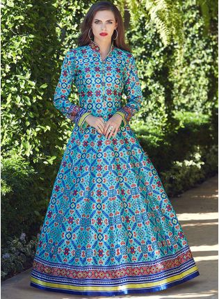 Sky Blue Color Heavy Printed Silk Base Party Wear Gown