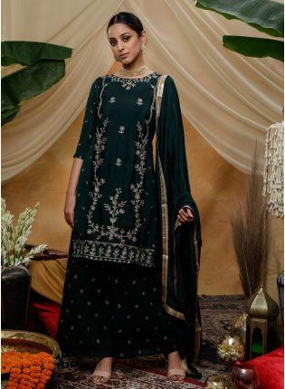 Navy Blue Zari Lacework Sequins Silk Pallazo Salwar Suit