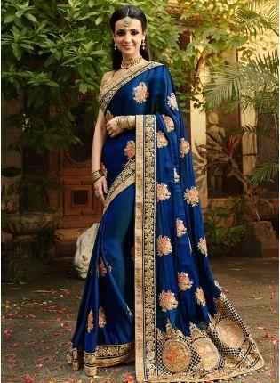 Royal Blue Color Party Wear Designer Silk Base Saree
