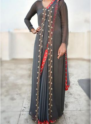 Grey Color Georgette Base Party Wear Heavy Embroidery Work Saree