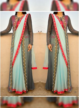 Sky Blue Georgette Base Party Wear Heavy Embroidery Work Saree