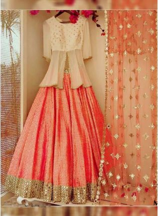 Peach Color Party Wear Designer Banglori Silk Base Crop Top