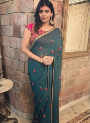 Dark Green Color Designer Georgette Base Party Wear Saree