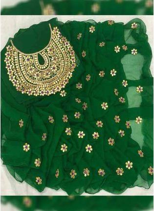 Dark Green Color Party Wear Designer Georgette Base Saree