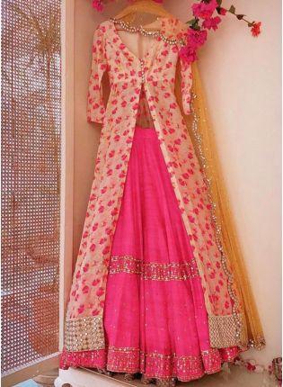 Pink Color Party Wear Designer Banglori Silk Base Crop Top