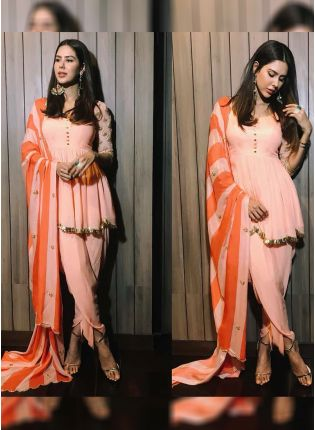 Stylish Peach Color Party Wear Creap Silk Base Designer Dhoti Style Suit