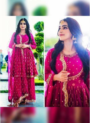 Fascinating Rani Pink Crepe Silk Base Salwar Kameez Palazzo Suit