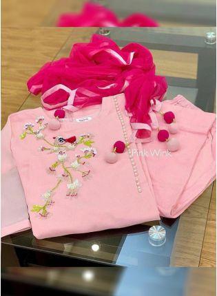 Baby Pink Color Georgette Base Designer Thread Work Salwar Kameez Suit