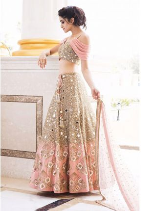 Latest Peach Color Designer Heavy Mirror Work Lehenga Choli