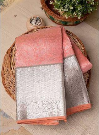 Splendid Peach Pink Silk Base Designer Woven Wedding Special Saree
