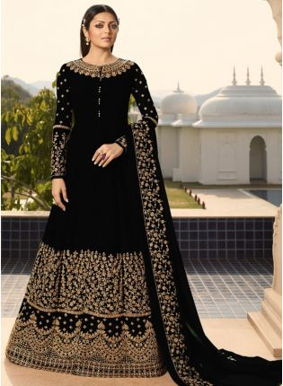 Black Georgette Based  Embroideried Anarkali Suit for Wedding