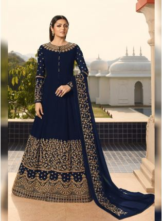 Navy Blue Georgette Base Wedding Wear Embroidery Work Anarkali Suit