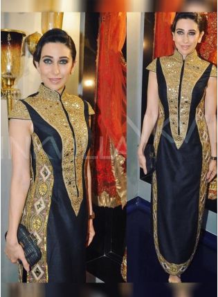 Black Color Party Wear Designer Raw Silk Base Salwar Kameez