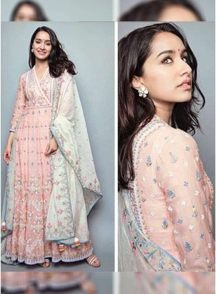 Blush Pink Color Georgette Base Designer Thread Work Gown