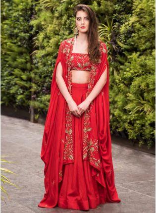 Red Sequin Work And Zari Malai Satin Flared Lehenga Choli