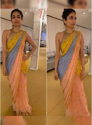 Breathtaking Multi-Color Sequin Work Designer Saree With Lace