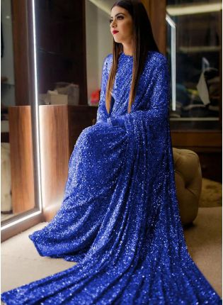 Blue Sequins Sparkling Georgette Embroidered Saree