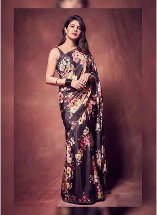 Delightful Glossy Black Georgette Base Digital Printed Saree With Lace